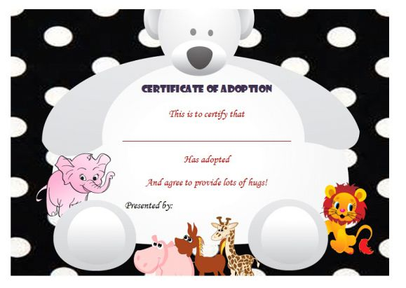 Stuffed animal adoption certificate
