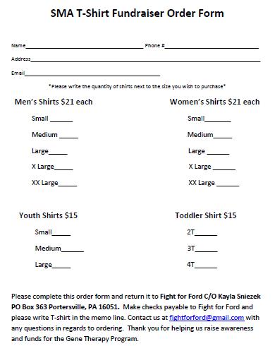 T-Shirt Fundraiser Order Form Template 1