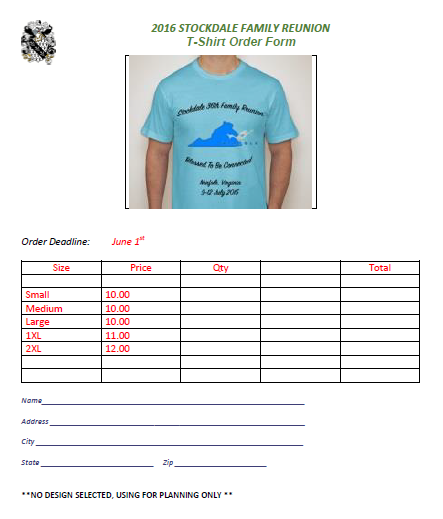 T-Shirt Order Form For Family Reunion 2