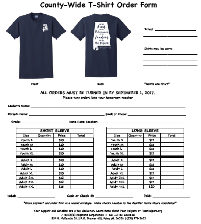 T-Shirt Order Form For School