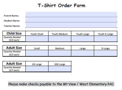 T-Shirt Order Form For School 2
