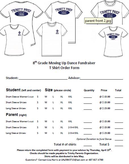 T-Shirt Order Form Fundraiser 2