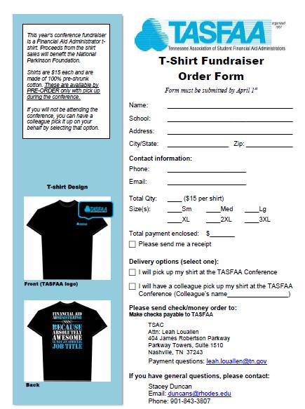 T-Shirt Order Form Fundraiser