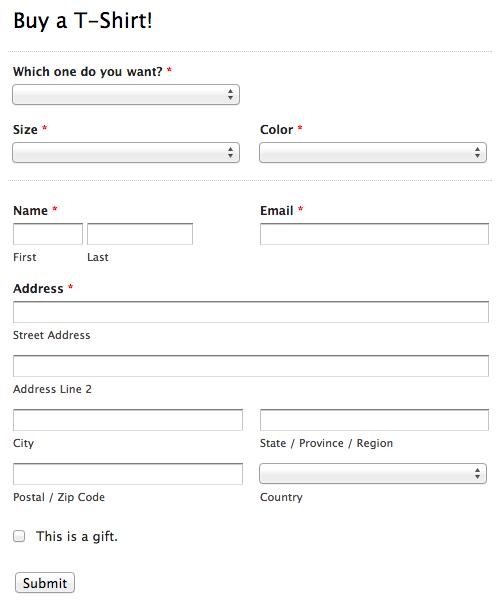 T-Shirt Order Form Survey Monkey