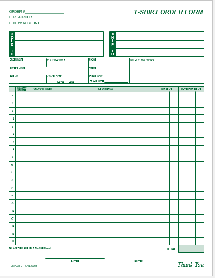 T-Shirt Order Form Template Blank 2