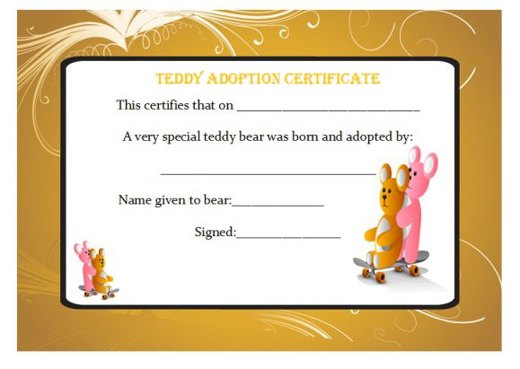 Teddy adoption certificate