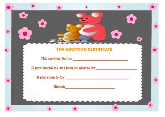 Toy adoption certificate