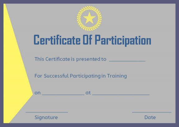 Training participation certificate format