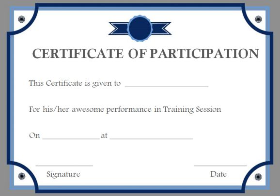 Training participation certificate templates