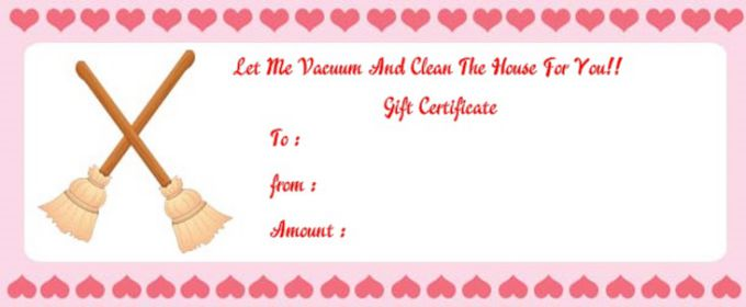 Vaccum cleaning gift certificate