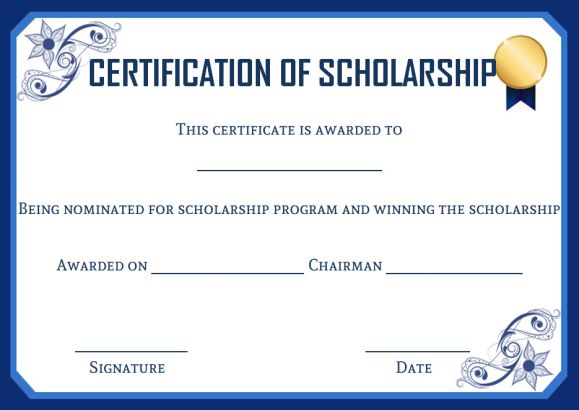 Academic scholarship certificate template
