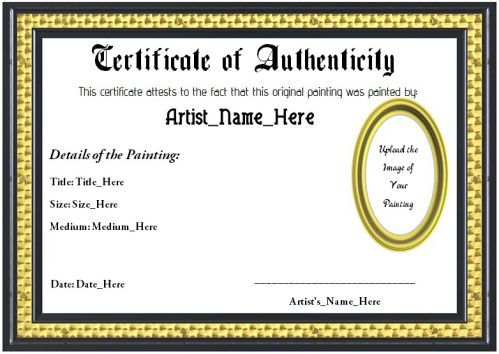 certificates of authenticity templates - 20 art certificate templates to reward immense talent in
