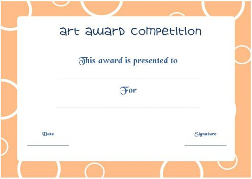 Art Competition Award Certificate