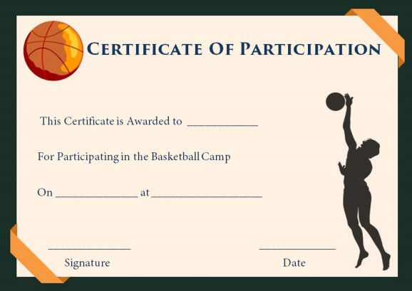 Basketball Participation Certificate 10 Free Downloadable