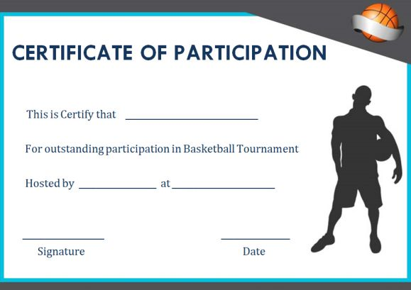basketball participation certificate