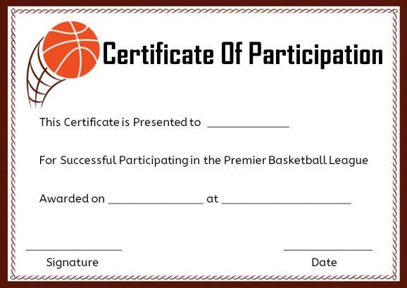 basketball certificate wording