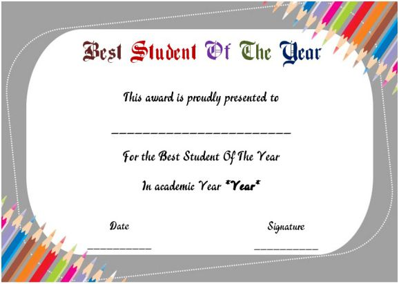 student of the year award certificate templates 20 free to