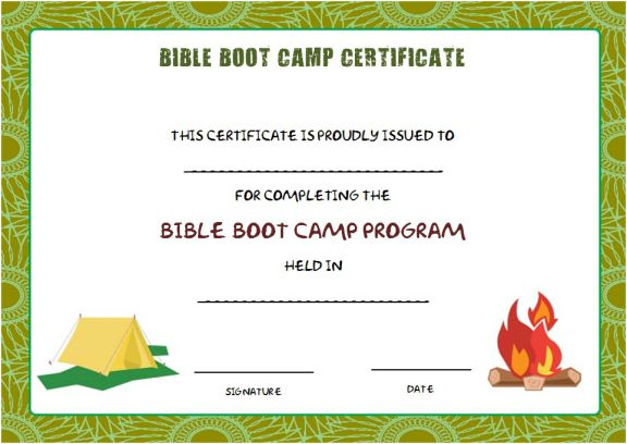 bible boot camp certificate