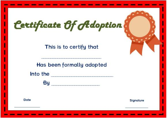 blank certificate of adoption
