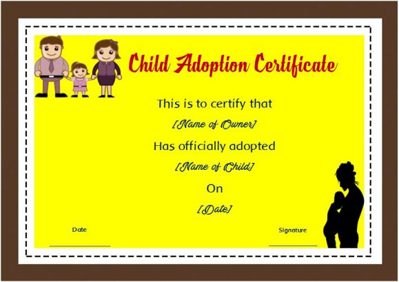 blank child adoption certificate
