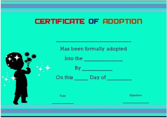 blank child adoption certificates