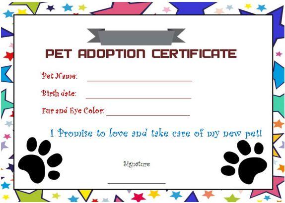 blank pet adoption certificates