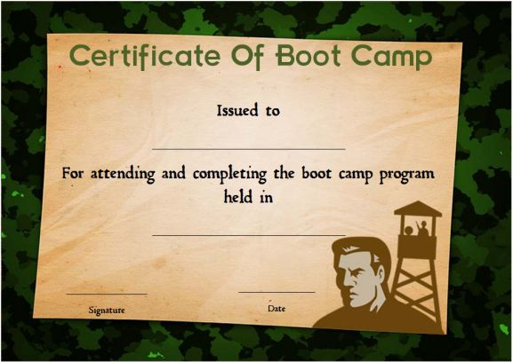 boot camp certificate camouflage