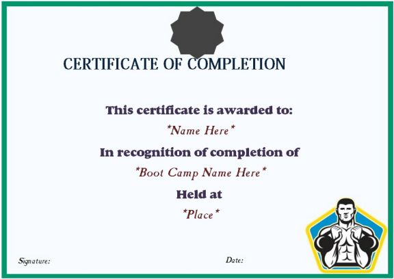 boot camp completion certificate