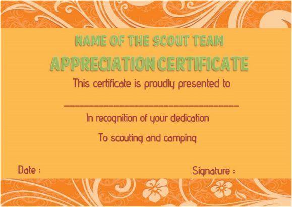 Boy scout thank you certificate