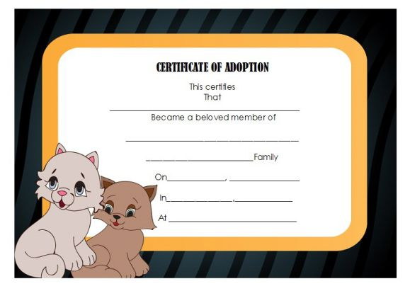 Pet adoption certificate template 10 creative and fun customizable pet adoption certificate template 10 creative and fun customizable certificates yelopaper Choice Image