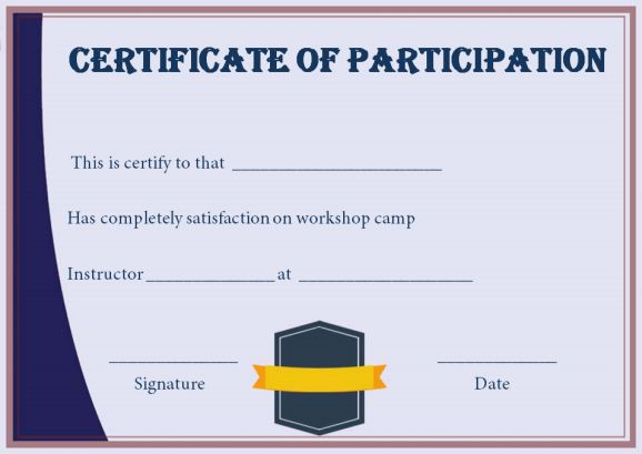 template for certificate of participation in workshop - certificate for participation in workshop template demplates
