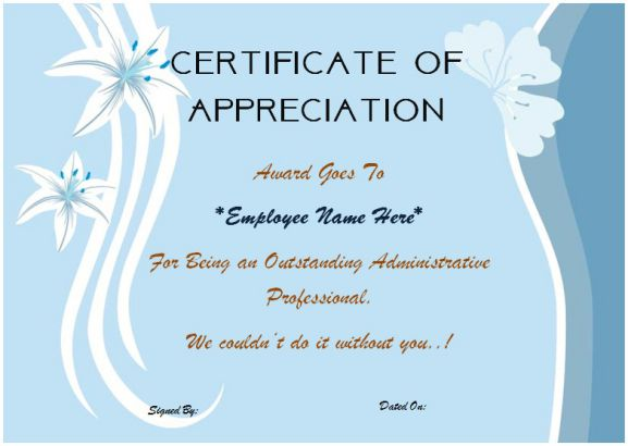 Certificate of appreciation for employees
