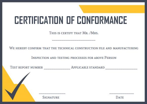 Certificate of conformance template 10 high quality for Certificate of conformance template