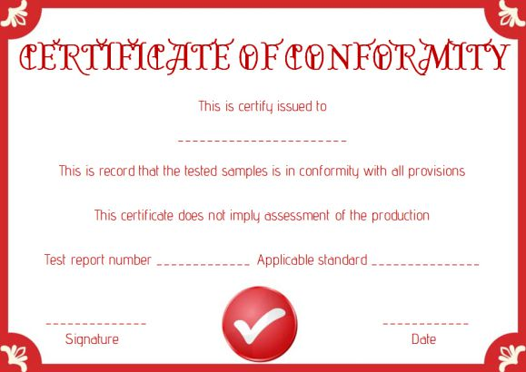 certificate of conformance template words