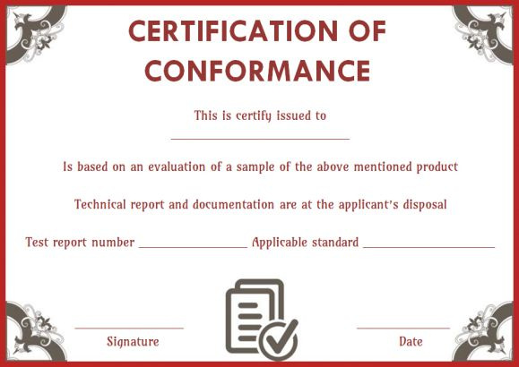 certificate of conformance templates