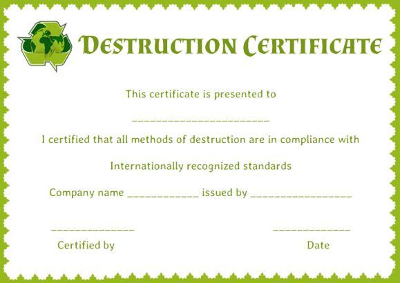 certificate of data destruction template