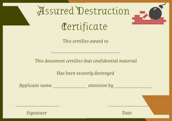 certificate of destruction form sample