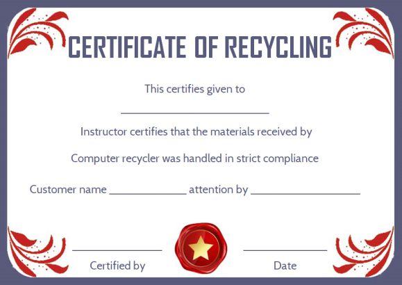certificate of destruction shredding template