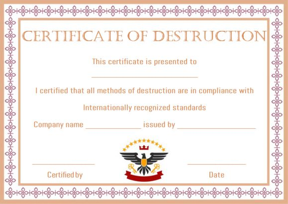 certificate of document destruction template