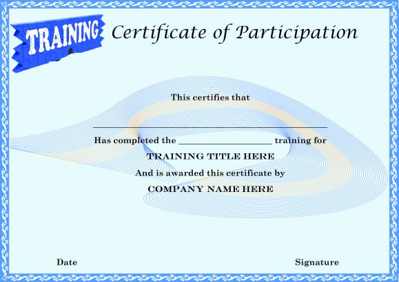 Certificate of Partcipation in Training Template