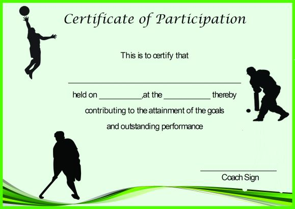 Certificate of Partcipation Template Sports