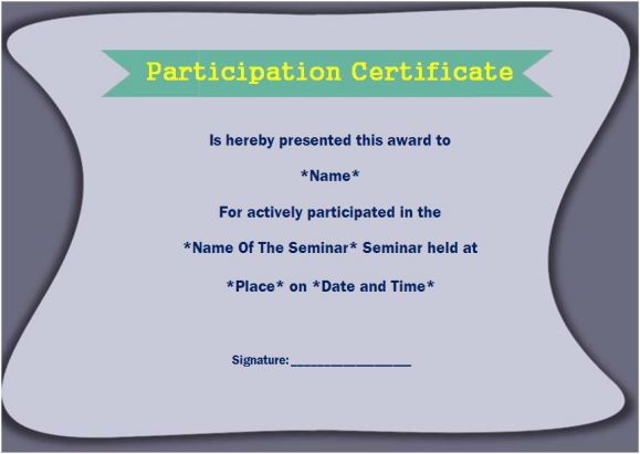Certificate of participation for seminar template