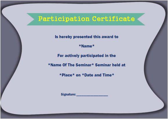 sample certificate of participation in seminar 12 certificates free