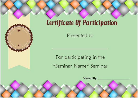 certificate of participation for seminars