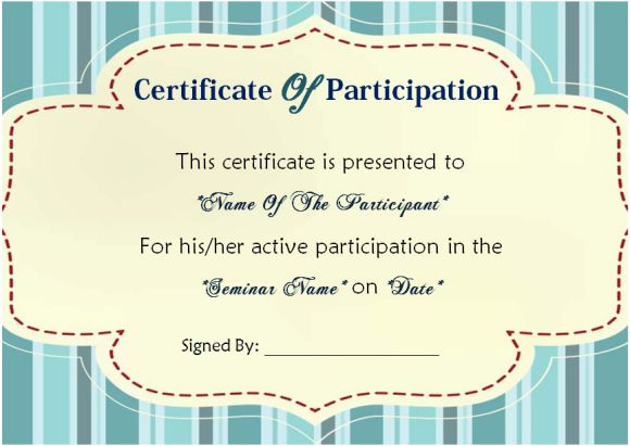 certificate of participation in seminar sample