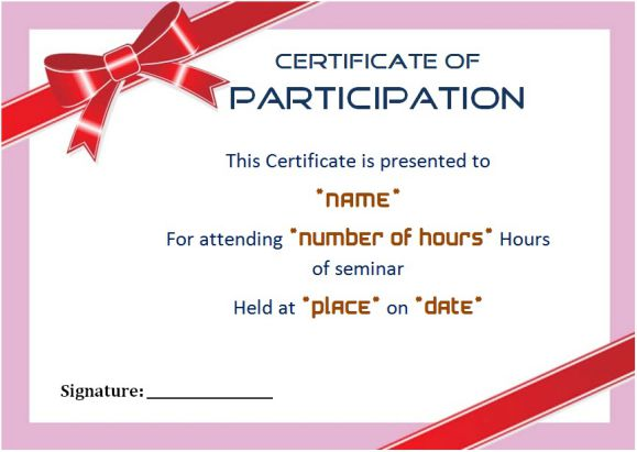 Sample certificate of participation in seminar 12 certificates free under academy college yelopaper Image collections