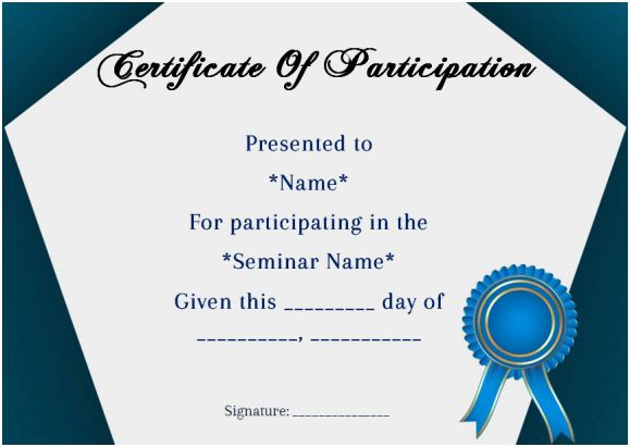 Sample certificate of participation in seminar 12 for Template for certificate of participation in workshop