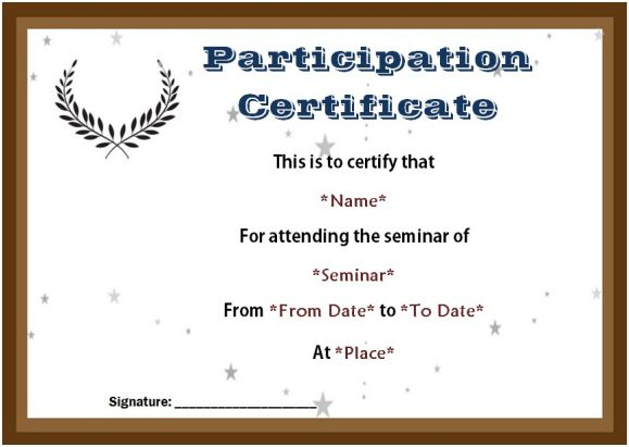 certificate of participation seminar templates