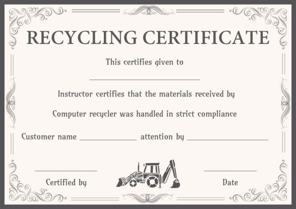 certificate of product destruction template