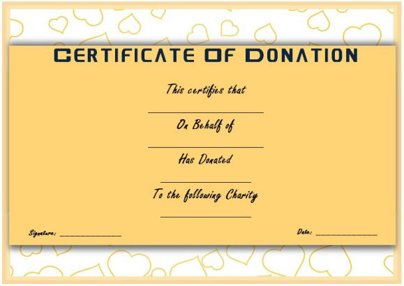 charitable donation certificate template